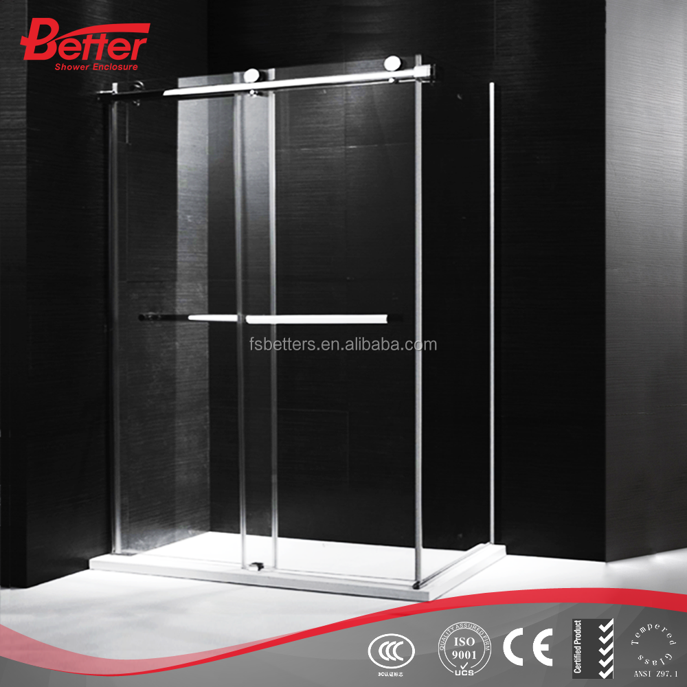 simple framelss sliding shower cabinet