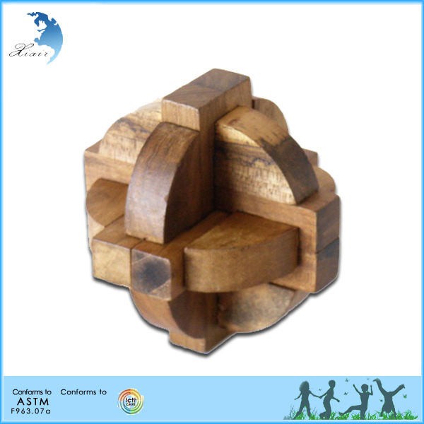 Custom children brain teaser wooden 3D jigsaw puzzle