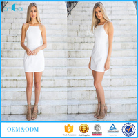 Customized ladies new fashion spaghetti sleeveless white bodycon dress