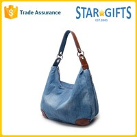 Promotional womens zipper custom logo denim shopping tote handbags