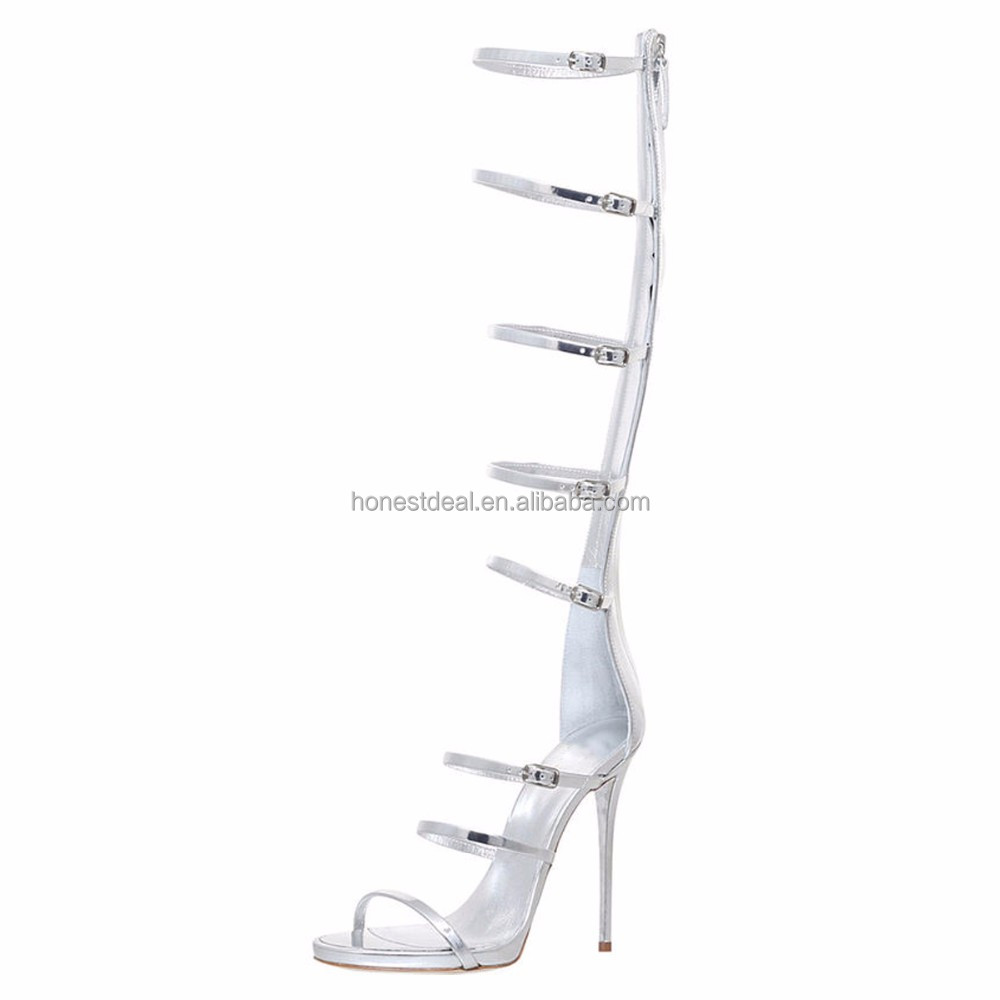 Onlymaker women silver PU gladiator style buckle convertible strap knee high sexy back zipper stiletto sandals