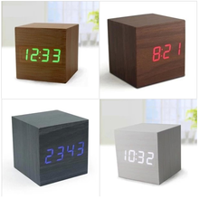 Christmas Decorating Desktop Table Clocks Despertador Digital LED Square Alarm Wood Wooden clock