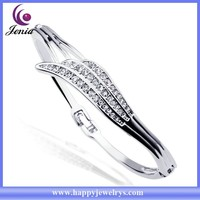 New arrival hot selling 18k white gold plated wholesale crystal bracelet bangle (YWB5606-2)
