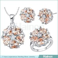 Delicate wedding jewelry set for girls beauty champagne stone on flower design