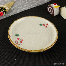 sushi plate 2017 China factory wholesale cheap 7.6 inch japanese hand painted round shallow fruit serving ceramic plate
