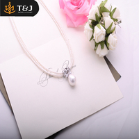 AD Wholesale Fashion Stainless Steel Gold Mesh Chain Necklace with Pearl Charms Beads