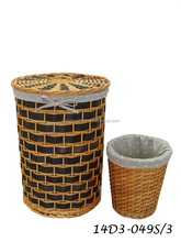 wide wood chip laundry hamper or basket with lid and removable bag