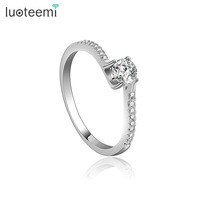 LUOTEEMI 2015 Newest Wholesale Fashion AAA Cubic Zirconia Imitation Diamond Jewelry Tiny White Gold Engagement Rings For Women