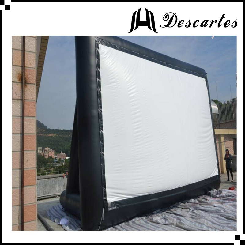 Outdoor 4m length air film screen, giant inflatable movie screen for advertising