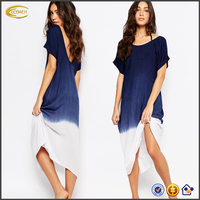 Ecoach Wholesale women Scoop neck short sleeves deep back v neck dresses Plus size women maxi dresses with Contrast faded hem