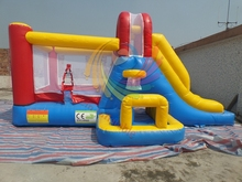 Simple and small inflatable bouncer slide with basketball hoop
