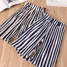 Hu Sunshine 2-7 years Wholesale 2018 Korean Style Girls Wide Pants Spring Cotton Fashion Striped Girls Pants 343BT0309