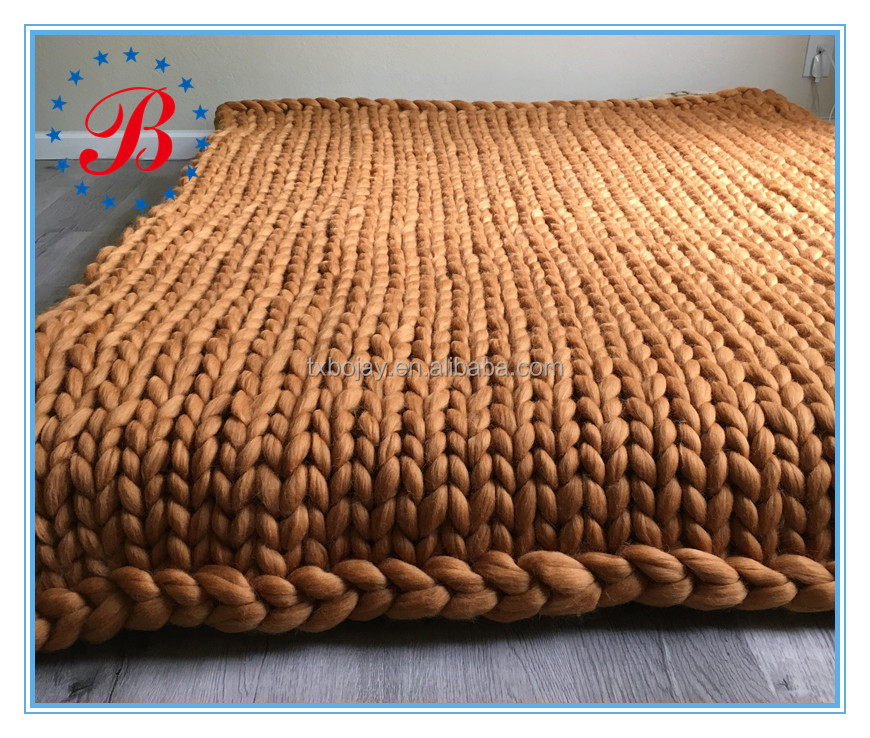 66s 21mic 100% Australian Giant Merino Wool Roving Super Chunky Knit Blanket China Suppliers
