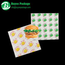 custom printed greaseproof fast food wrapping paper