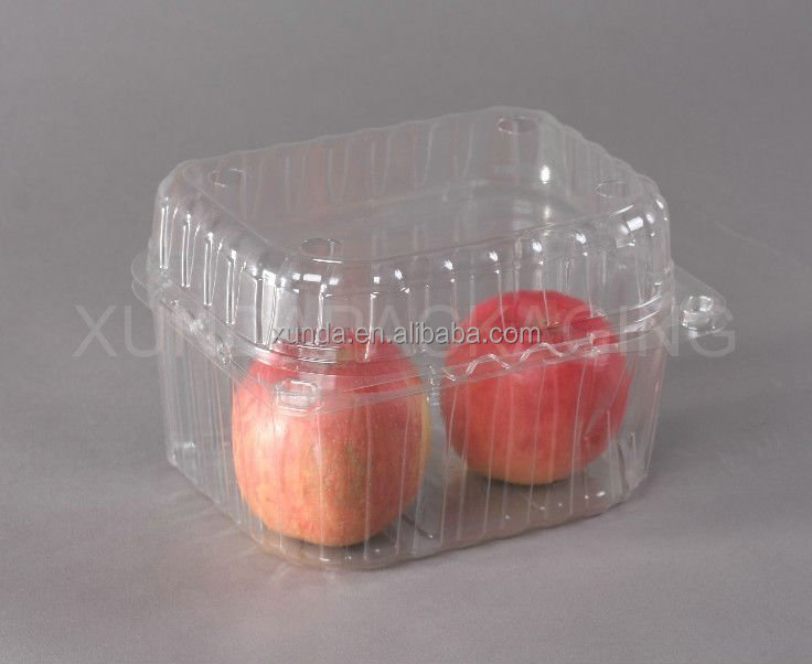 Manufacturer transparent pet plastic fruit and vegetable packing big box plastic container