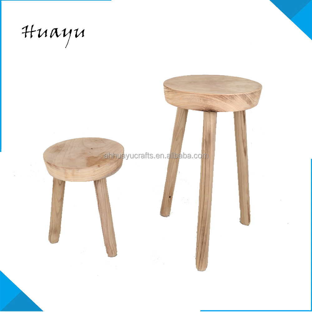 3-legs small wooden foot Kitchen Round Shape Children Lunch Seat sheng hua fish shaped wood stool with drawer