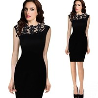 sexy party lace bodycon party dress cap sleeve celebrity crochet black dress