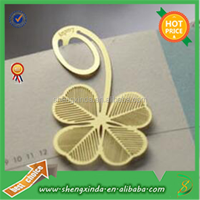 Gold Die Casting Metal leaf Bookmark For Gift