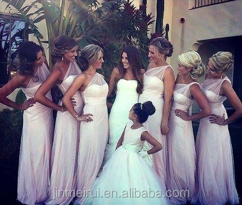 Sheer Strips One Shoulder Chiffon White Bridesmaid Dress Women Miad Of Honor
