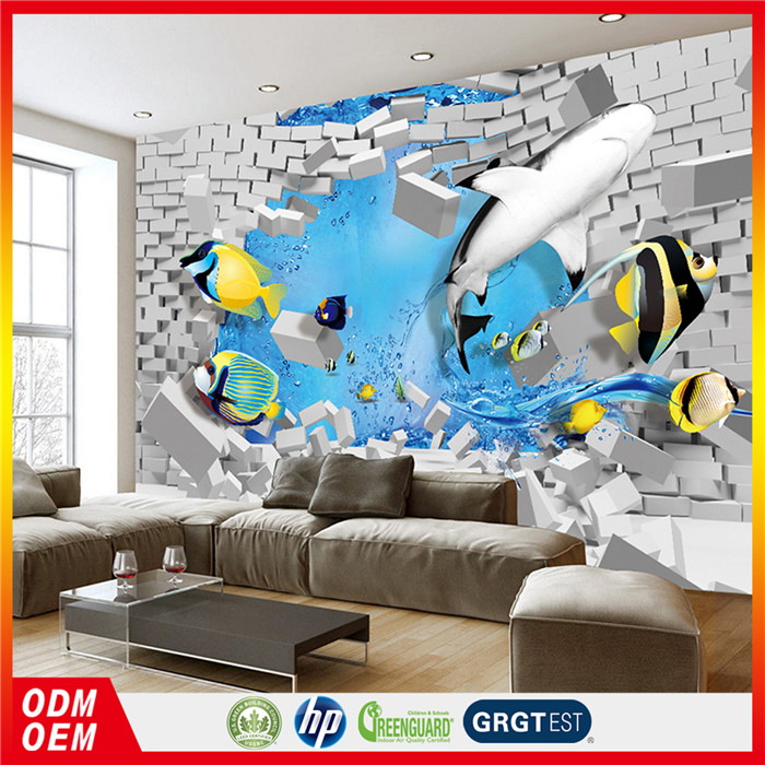 Guangzhou factory custom products 3d cartoon fish and brick photo decorating children room wallpaper murals