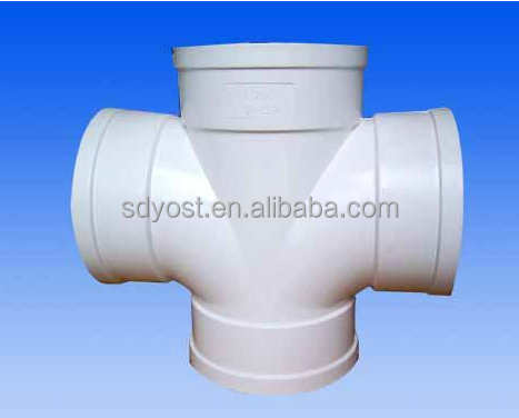 White PVC pipe <strong>fitting</strong> 4 way Connectors Side Outlet Tee , PVC 4 Way Elbow <strong>Fittings</strong>