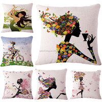 Fashion Cotton Linen PillowCase Decorative The New Flower Girl Home Decor Cushion Cover Digital Printing Pillow Case