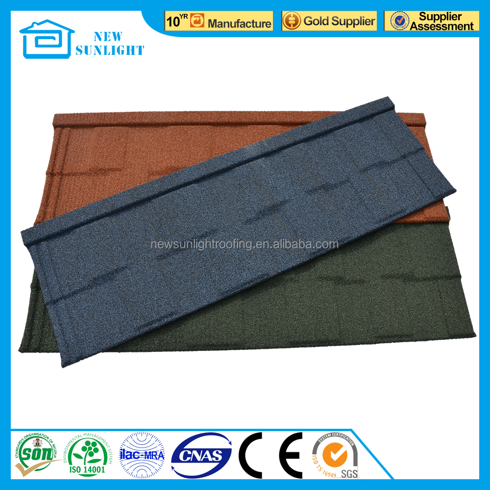 Africa classic villa house corrugated color stone coated steel roof tile