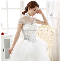High Neck Short Sleeve Lace Beads Sequins Tulle White Bridal Bolero Jacket Wrap Shawl with pearl tassels lady Wedding dress coat