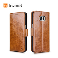 ICARER Oil Real Leather Folio Wallet Case for Samsung Galaxy S7 Edge with Stand Function