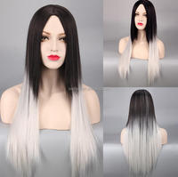 Women's long Bob Cut 65cm Straight Black to Grey Wig Ombre 2 color Full Synthetic Hair wig