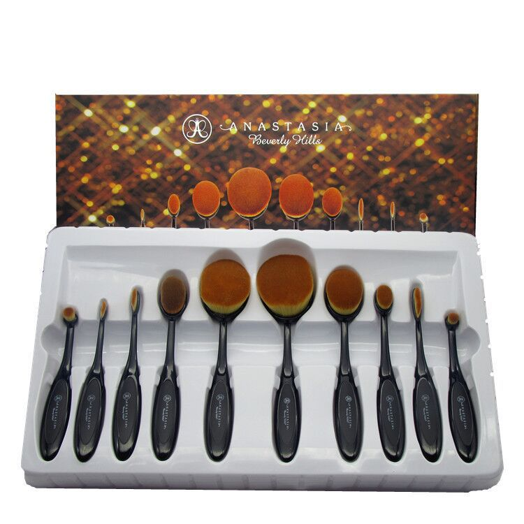 AIDEN-China Black 10pcs tooth makeup brush set ,custom logo oval make up brushes