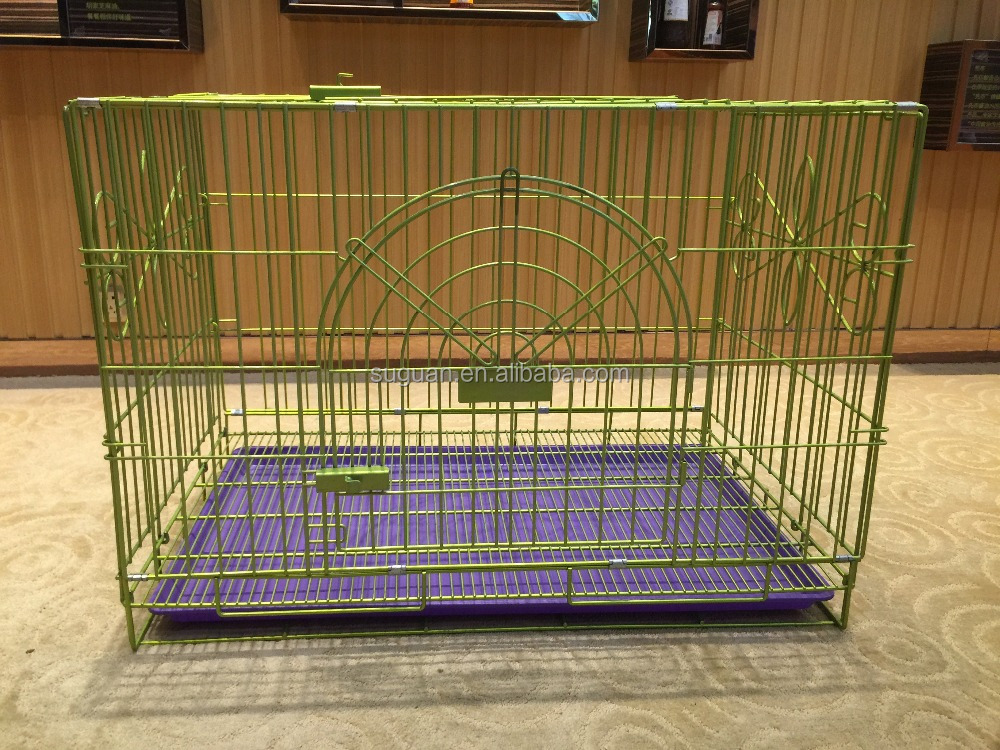 Iron wire dog kennel double door metal pet crates indoor outdoor pet house folding and collapsible cat dog cage