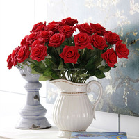 Yiwu factory artificial flowers wedding decoration single stem red silk rose flowers