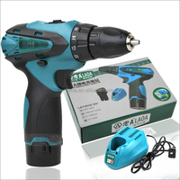 12V double speed Li-ion battery industrail grade waterproof electric drill charged electric drill,+1 battery+1charger
