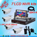 7 inch LCD display screen 4 channel HD 1.0MP IP camera P2P NVR kit for surveillance