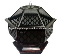 Manufacturer outdoor Hex-shaped fire pit /fire bowl fire pit with chimney