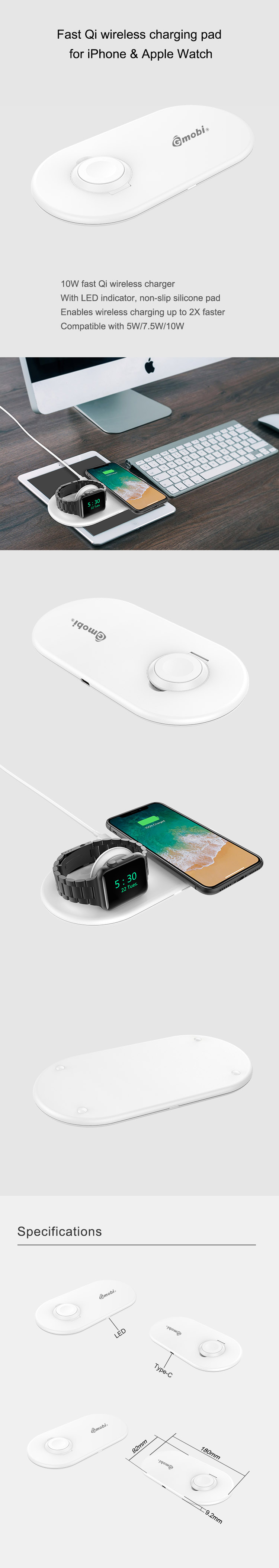 Gopod 2 in 1 QI Wireless Charging Mobile Wireless Charger Stand for Cell phone and apple Watch