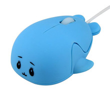 Creative cartoon dolphin animal shaped computer 6d gaming wired fancy mouse for PC Laptop