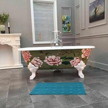 NH-1028-3 Hand painted flower cast iron clawfoot bath tub