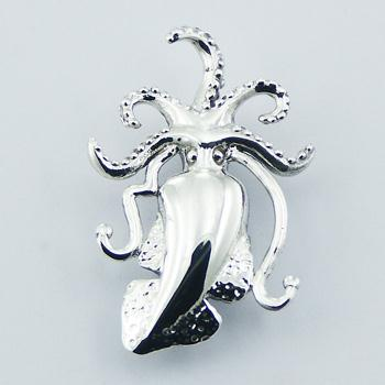 High Polished Hallmarked 925 Sterling Silver Squid Pendant