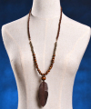 Fashion handmade leather beads wooden feather pendant necklace, costume wood necklace, wood and bead necklace