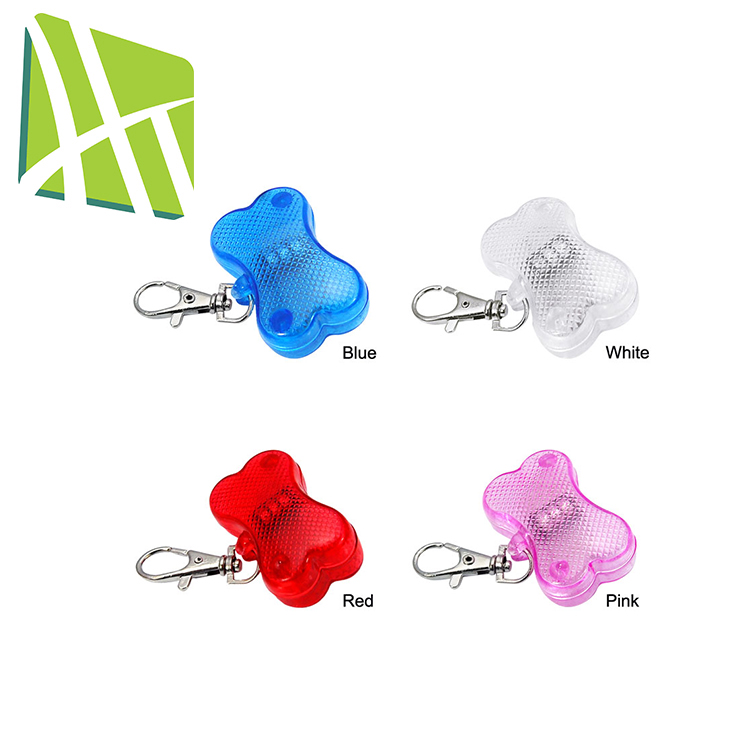 Bone Shaped ABS Colorful Custom LED Blinker Flashing Pet Tag