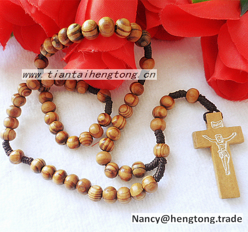 Christian 8mm olive /pine wood beads knot rosary necklace, religious wooden rosary with crucifix pendant