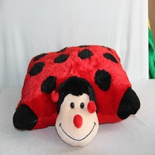 European and USA safety approved animal design cute plush ladybug pillow for adults