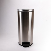 Recycle Stainless Steel Metal desk dustbin with swing lid high quality round