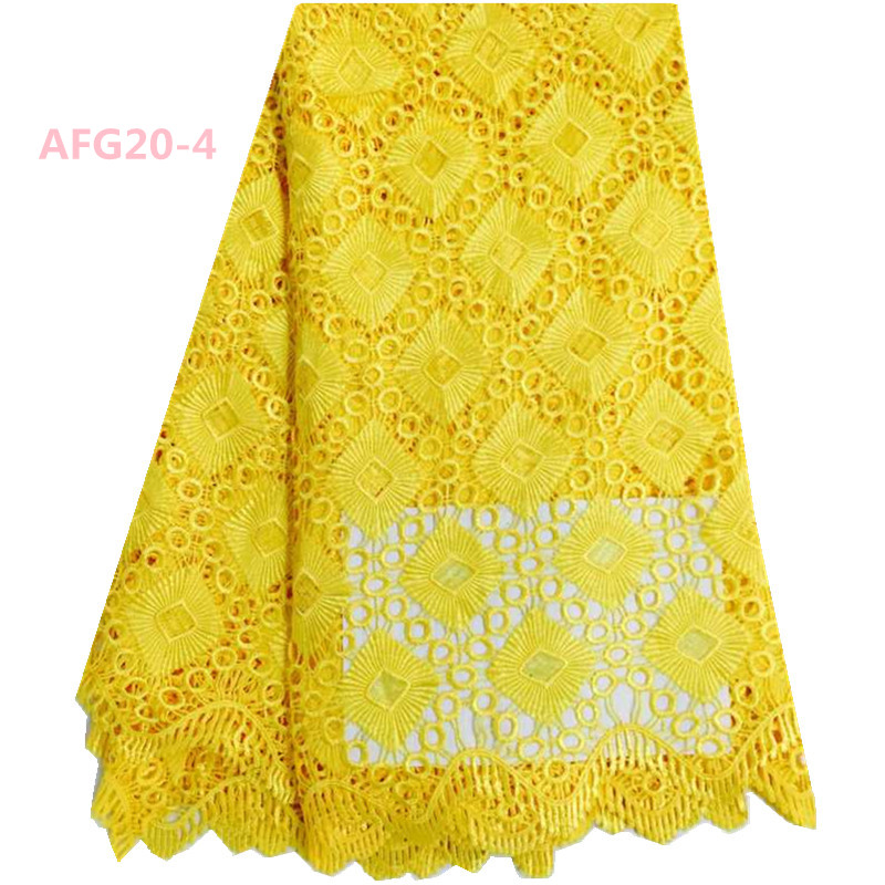 African french Swiss Voile Lace Fabric Yellow