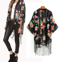 Walson top sales NEW Vintage Retro Ethnic floral tassels Loose Kimono Cardigan Jacket chiffon blouse Coat ZT002509 best