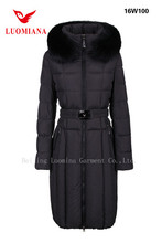 Winter Long Style Down clothes Women's Large Lined Heavy Winter Coat With Hooded Belted Warm in Canada Russion Cold Weather
