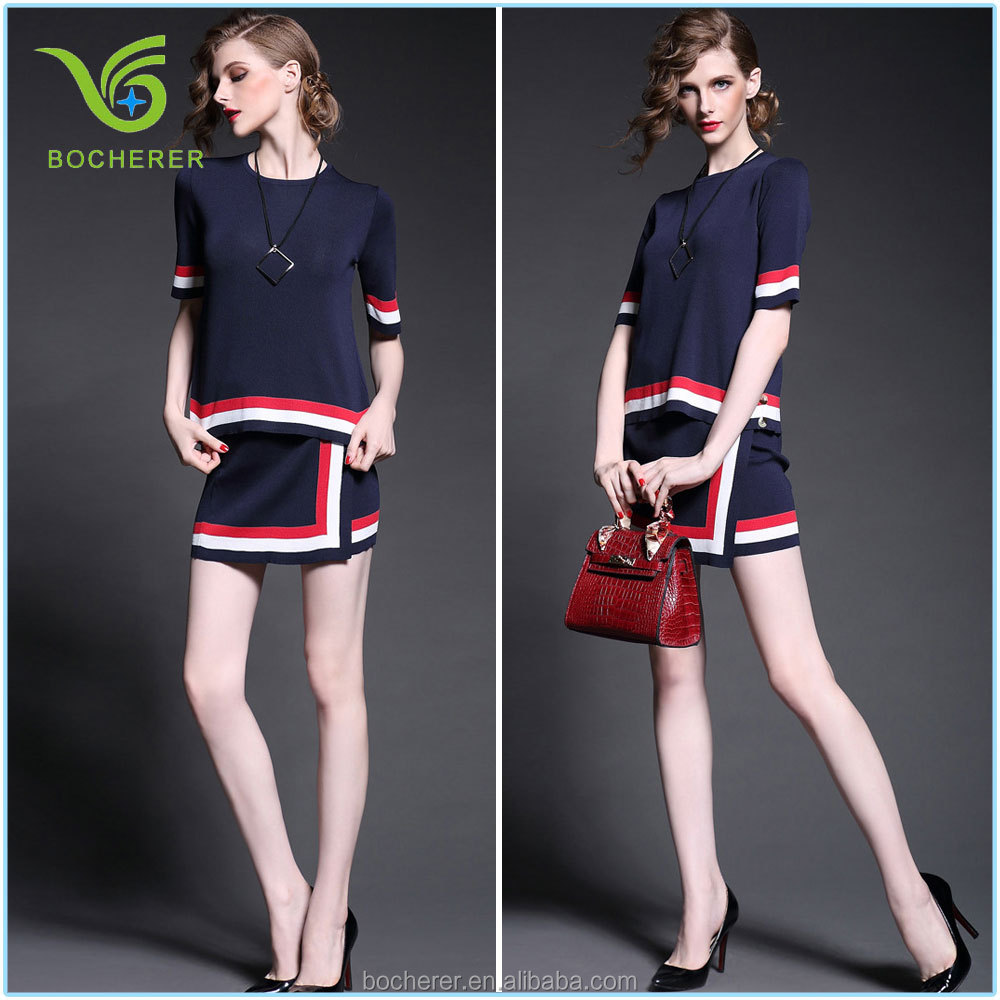 2016 fashion lady navy stripe and collar style suits for summer
