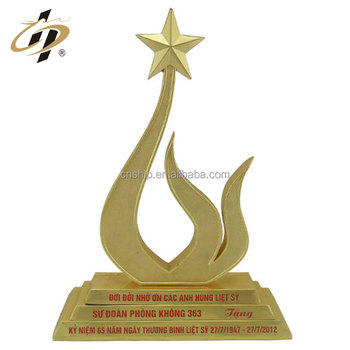 Die casting zinc alloy custom flower metal cricket trophy with enamel logo custom